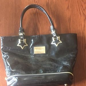 Betsyville- Black Patent Leather Bag- Gold accents